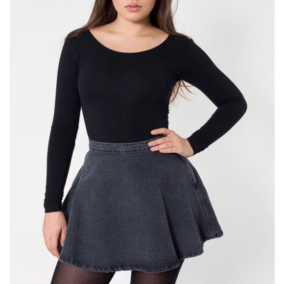 American Apparel Dresses & Skirts - American Apparel Washed Gray Denim Skater Skirt
